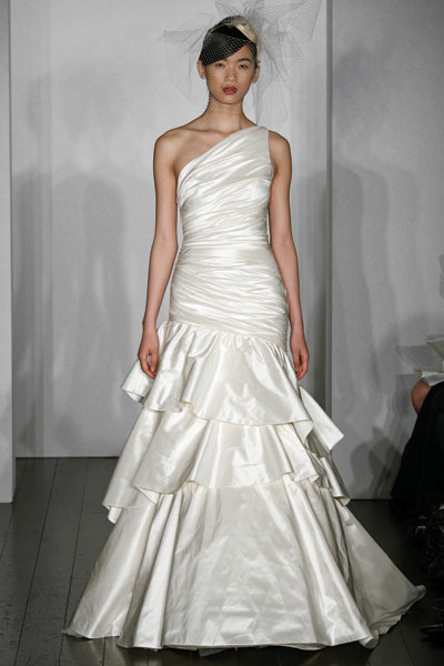 layered wedding dress, Amsale Bridal