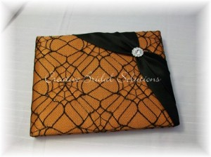 black and orange halloween guest book
