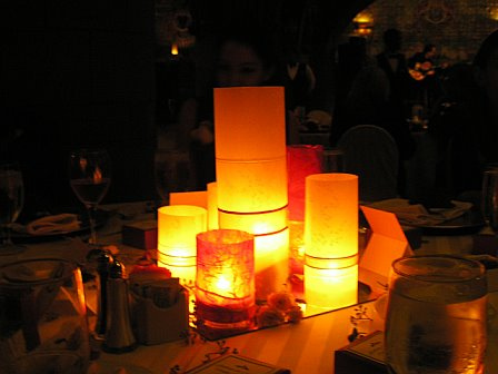 Three ideas for nonfloral centerpieces are Using candles is very lovely